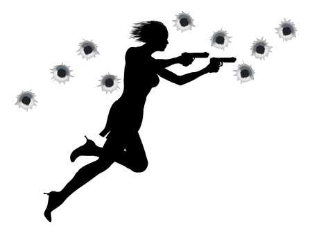 running: A  femme fatale sexy woman with two guns in Hollywood style action sequence.