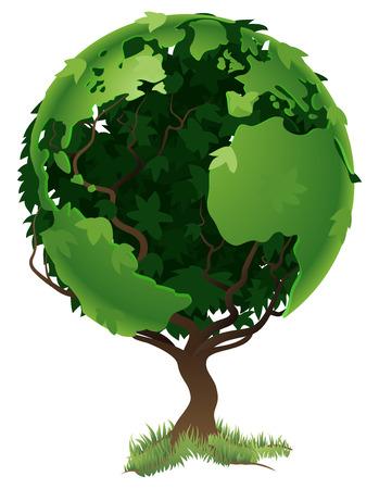 conciencia ambiental: Concepto de medio ambiente. Formando el globo mundial en sus ramas y hojas de �rbol
