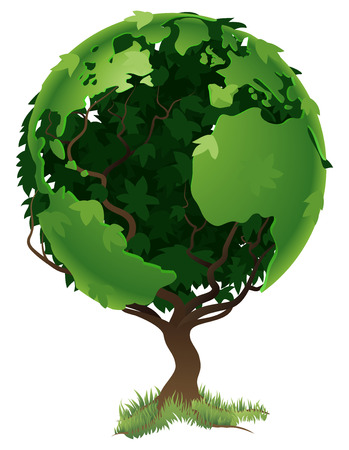 environmentally friendly: Environmental concept. Tree forming the world globe in its branches and leaves Illustration