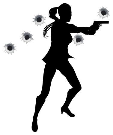 pistolas: H�roe de acci�n femenina permanente y rodaje de pel�cula styleshoot secuencia de acci�n. Con agujeros de bala. Vectores