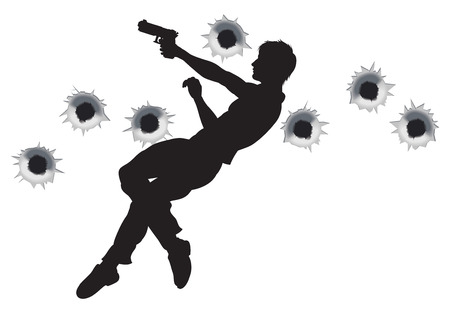 Action hero leaping through the air and shooting in film style gun fight action sequence. With bullet holes. Stock Vector - 9088562