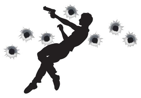 sicario: H�roe de acci�n saltar por el aire y disparos en la secuencia de acci�n de lucha de cine estilo arma. Con agujeros de bala.