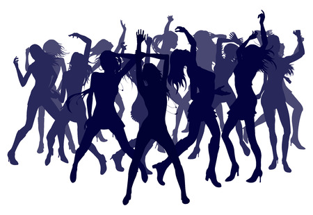 danseres silhouet: Groep van sexy mooie vrouwen die dansen in silhouet