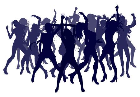 femme noir sexy: Groupe de femmes belles sexy danse en silhouette Illustration