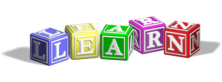 elearn: Alphabet letter blocks forming the word learn