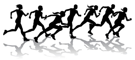 female athletes: Silhouette of a group of runners racing with reflections Illustration