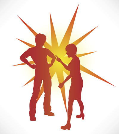 A couple in silhouette having a heated argument. Vector