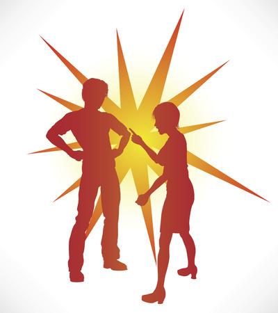 pareja discutiendo: Una pareja en la silueta de una acalorada discusi�n. Vectores