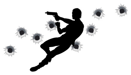 Action hero leaping through the air and shooting in film style gun fight action sequence. With bullet holes. Vector