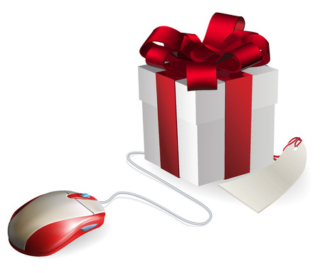 online shopping: Mouse attached to a gift concept. Buying gifts by online shopping or being given gifts for surfing the web or buying online. Illustration