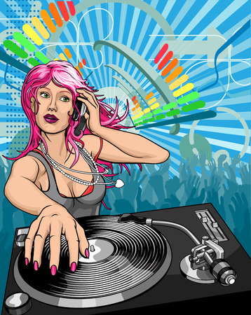 jockeys: Female woman DJ playing music background illustration