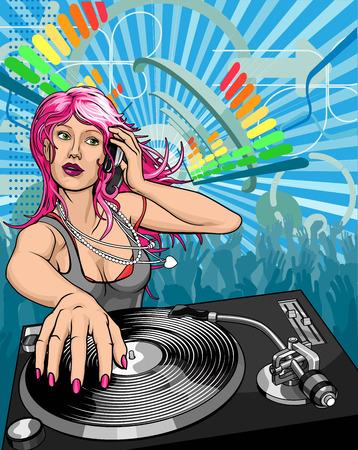 scheibe: Weibliche Frau DJ spielen Musik hintergrund illustration