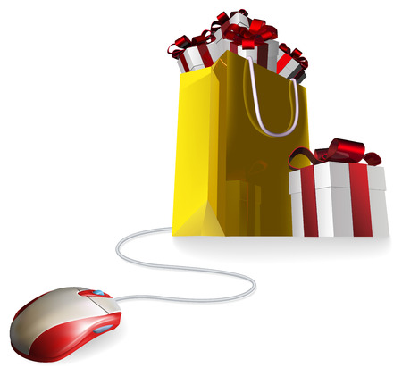 christmas bonus: Mouse attached to a shopping bag with giftst concept. Buying gifts by online shopping or being given gifts for surfing the web or buying online.