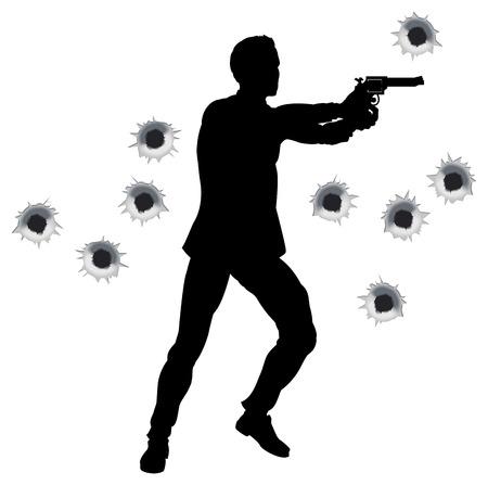 gaten: Action hero permanent en schieten in de film styleshoot uit actiereeks. Met kogelgaten.