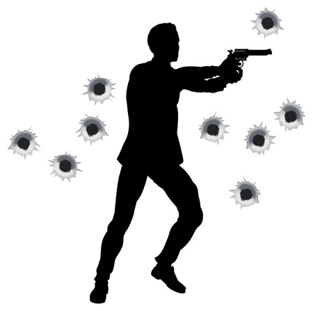 gunshot: Action hero standing and shooting in film styleshoot out action sequence. With bullet holes.