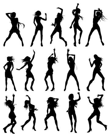 bailarines silueta: Siluetas de mujeres hermosas sexys bailando Vectores
