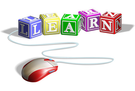 elearning: Mouse connected to alphabet letter blocks forming the word learn  Concept for e-learning  Illustration