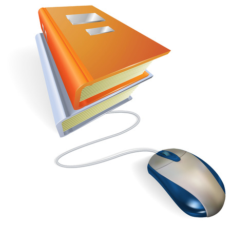 A mouse connected to a stack of books. Concept for online internet learning, education, information storage or e-books. Vector
