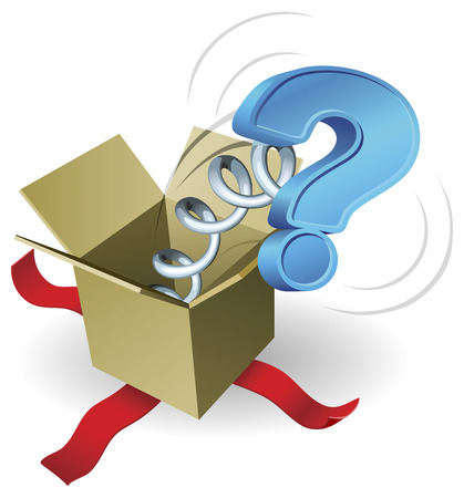 suprise: A question mark springing out of a box conceptual illustration  Illustration