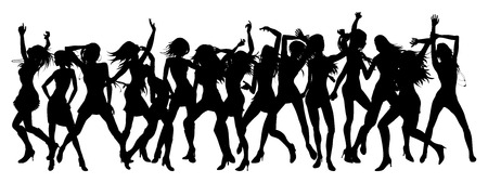 nightclub party: Silhouettes of sexy beautiful women dancing Illustration