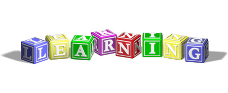 Alphabet letter blocks forming the word learning Vector
