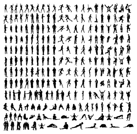 Many very detailed silhouettes including business, dancers, yoga etc. Vector