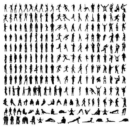 fondo luminoso: Muchas siluetas muy detalladas, incluyendo negocios, bailarines, yoga etc.. Vectores