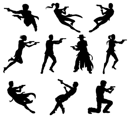 woman with gun: Silhouettes of movie action sequence shootout men and women in dynamic poses