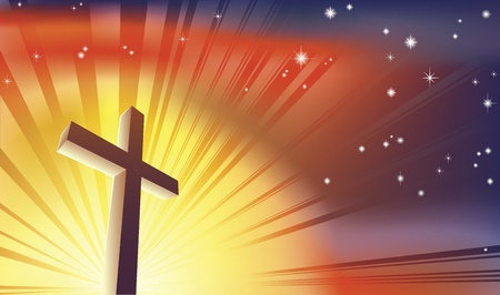 An awesome Christian cross bathed in light Vector