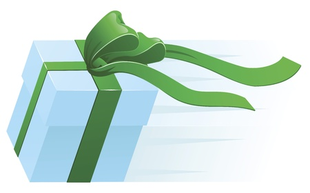 A very fast gift zooming along. Concept for shipping, fast delivery or gift wrapping. Vector