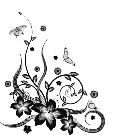 A gorgeous single colour  silhouette corner flower design with butterflies. Vector