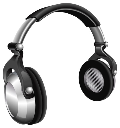 portable audio: A vector illustration of a large pair of music headphones.