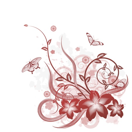 A detailed beautiful floral background design with butterflies. Vector