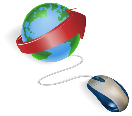 muse: Concept. A mouse connected to a world globe with arrow.