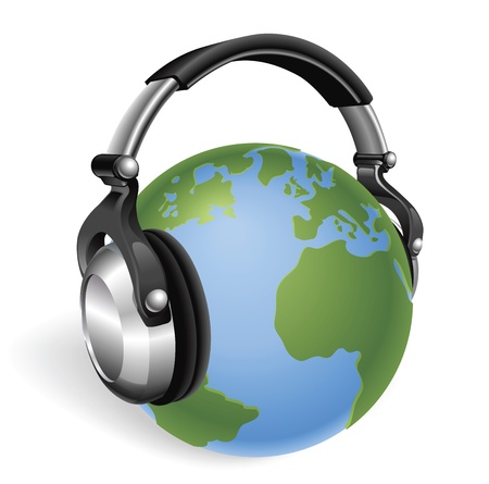 The world earth globe listening to music on funky headphones. Vector