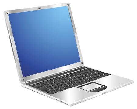 A stylish metallic shiny laptop computer Stock Vector - 9186570