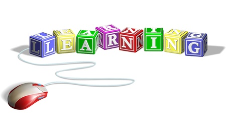 e learn: Mouse connected to alphabet letter blocks forming the word learning. Concept for e-learning.