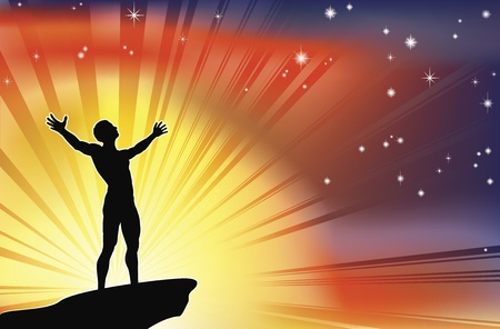 overcoming: Un hombre alegre con los brazos estirados hasta un cielo glorioso. Vectores