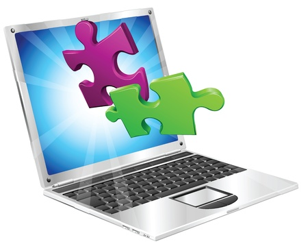 Jigsaw puzzle pieces flying out of a stylish laptop computer. Computer application concept. Stock Vector - 9186576