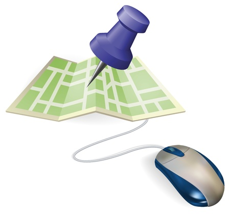 gps device: Concept. A mouse connected to a paper map. Illustration