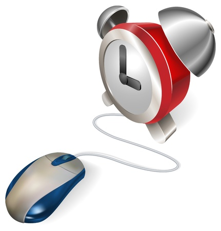 computer mouse icon: A mouse connected to an alarm clock. Concept for online or electronic scheduler, calendar or reminder.