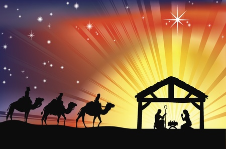 nativity scene: Illustration of traditional Christian Christmas Nativity scene with the three wise men