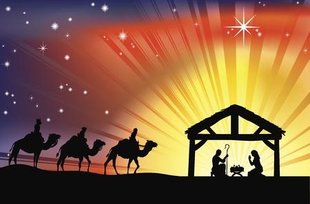 nascita di gesu: Illustrazione della tradizionale cristiana Natale presepe con i tre saggi Vettoriali