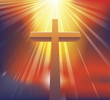 An awesome dramatic Christian cross bathed in light Vector