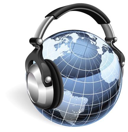 omroep: De wereld earth globe luisteren naar muziek op funky hoofdtelefoon. Stock Illustratie