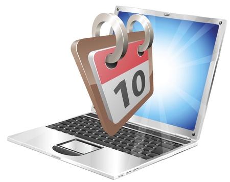 Laptop desk calendar concept Stock Vector - 9259917