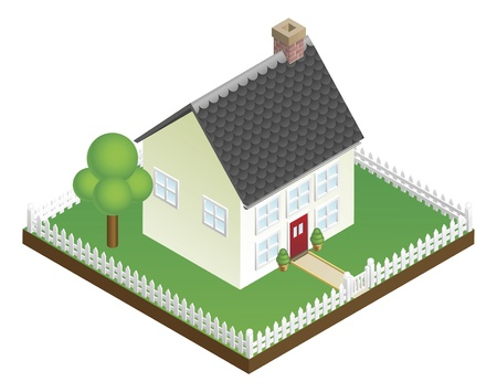 A quaint house with picket fence in isometric view Vector