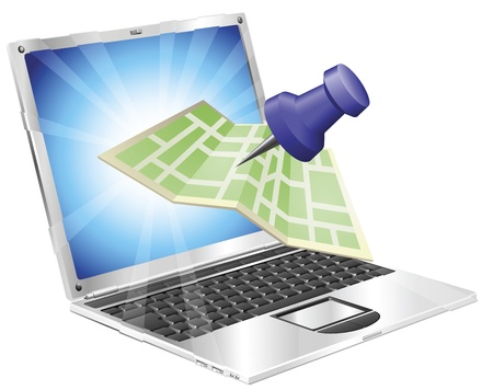 coming out: A road or city map flying out of a laptop computer. Concept or icon for map app or internet website with maps or other GPS related. Illustration