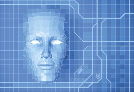 sci: Una cara de pol�gono futurista formando de fondo conceptual de la pantalla de cuadr�cula.
