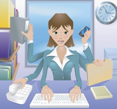busy person: Un negocio exitoso ocupado mujer multitarea en la Oficina.